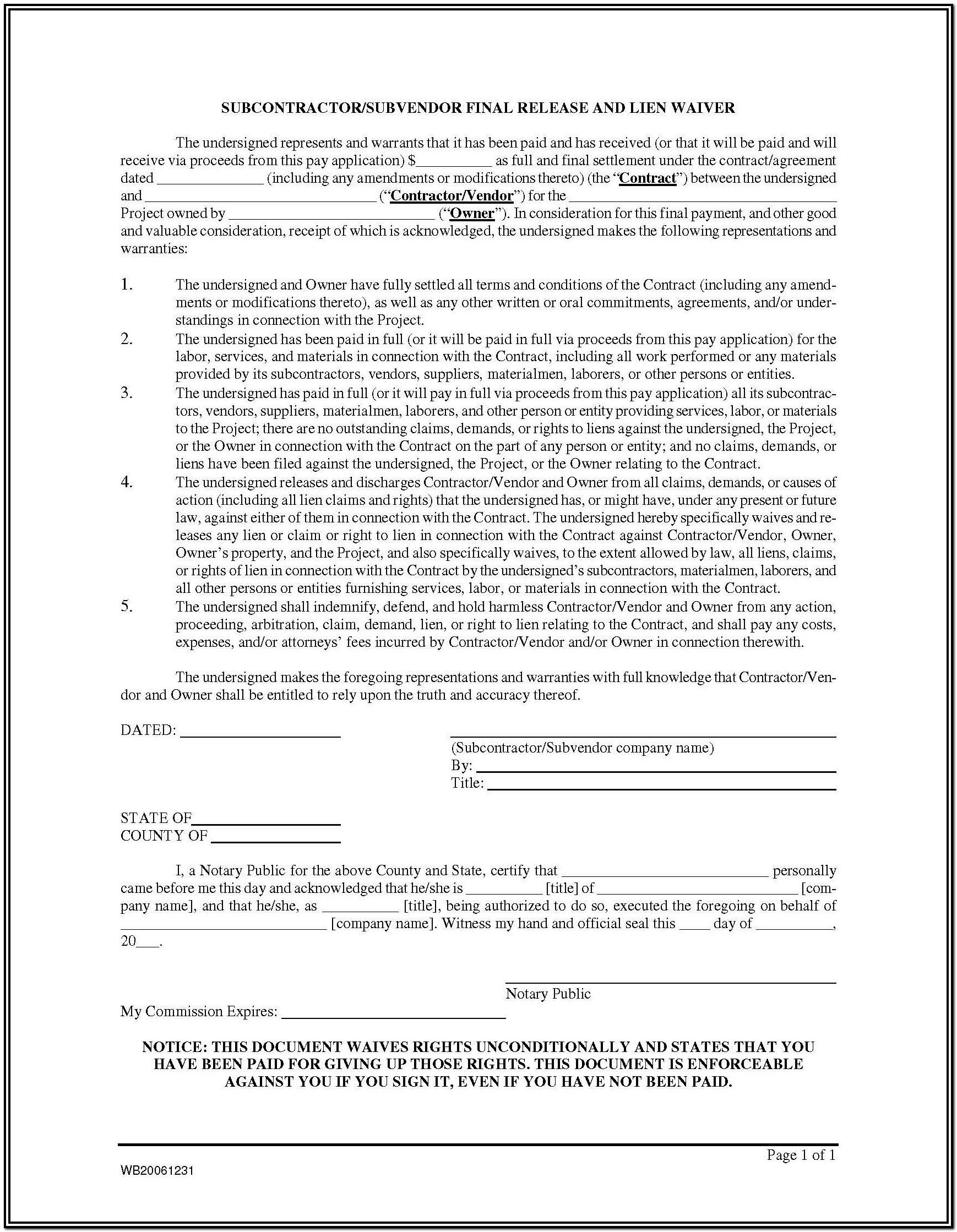 Construction Lien Waiver Form Mn