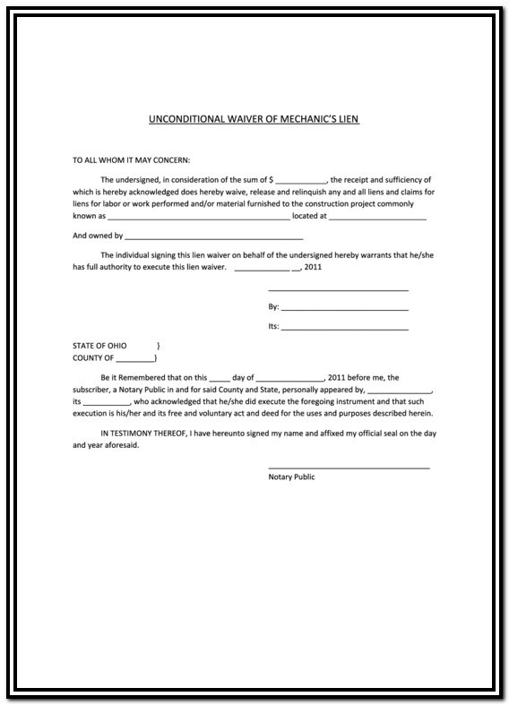 Construction Lien Waiver Form Pdf