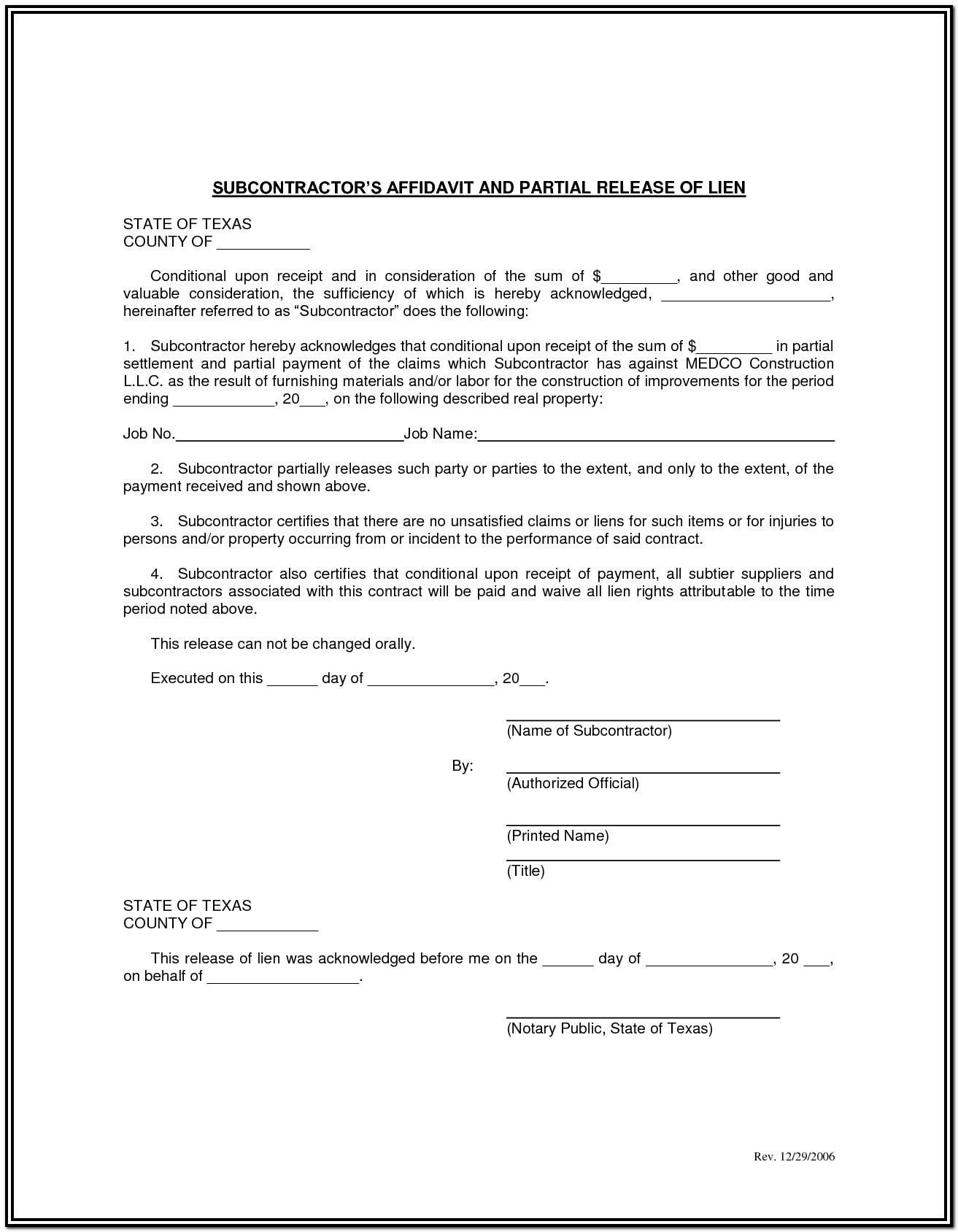 Construction Lien Waiver Form Texas
