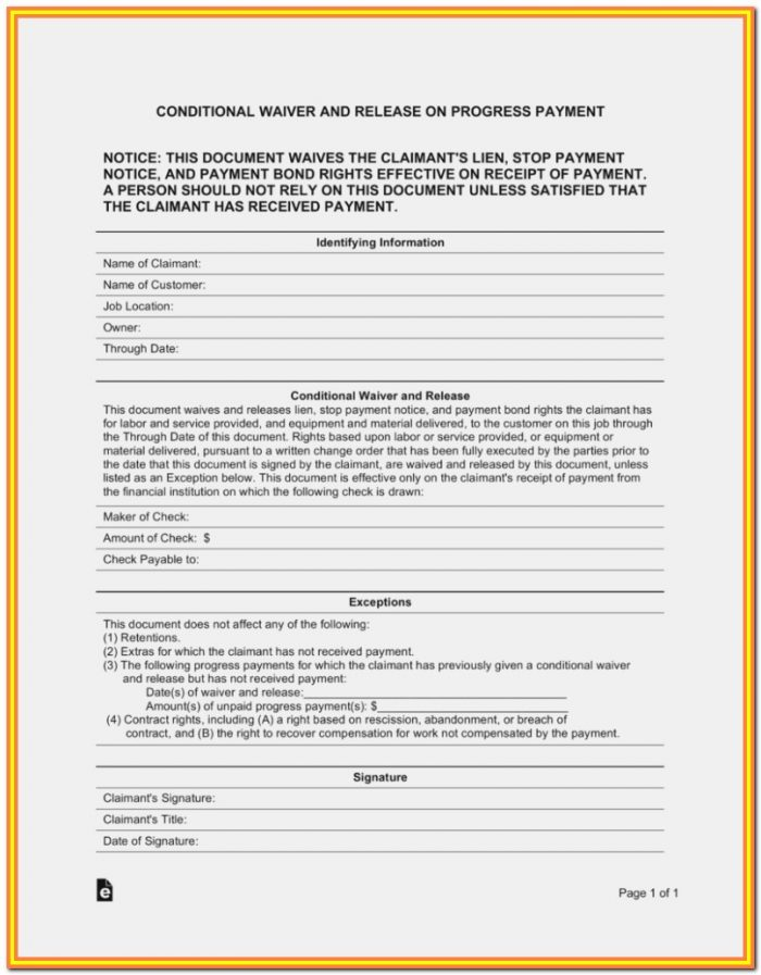 Contractor Lien Release Form Arizona