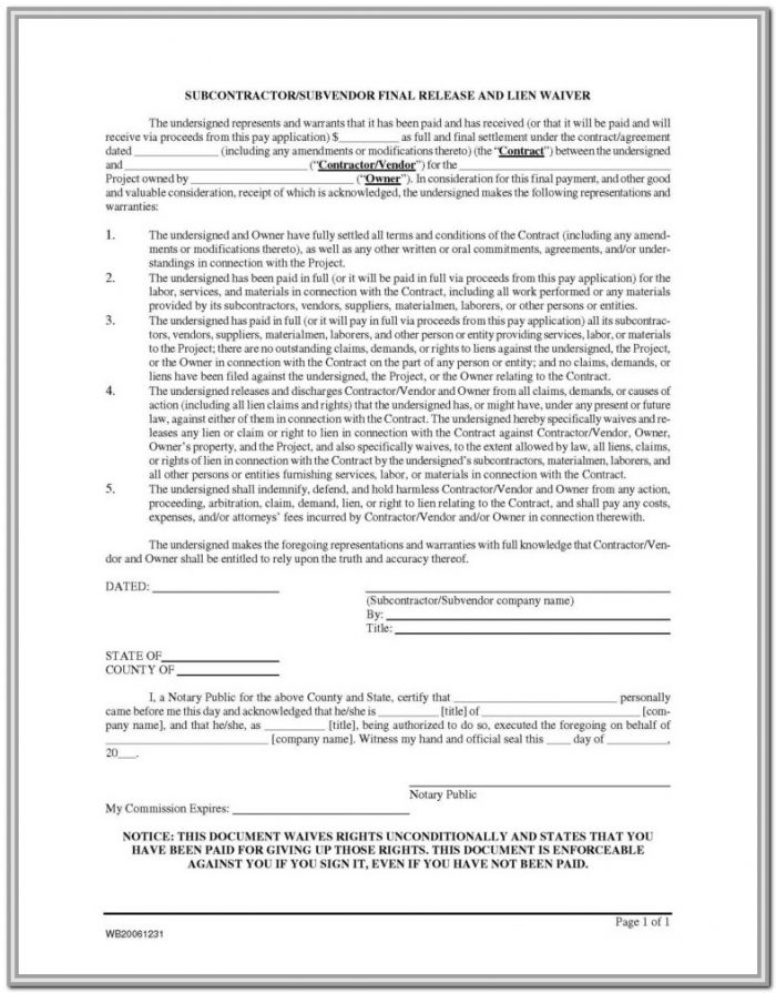 Contractor Lien Release Form Nevada
