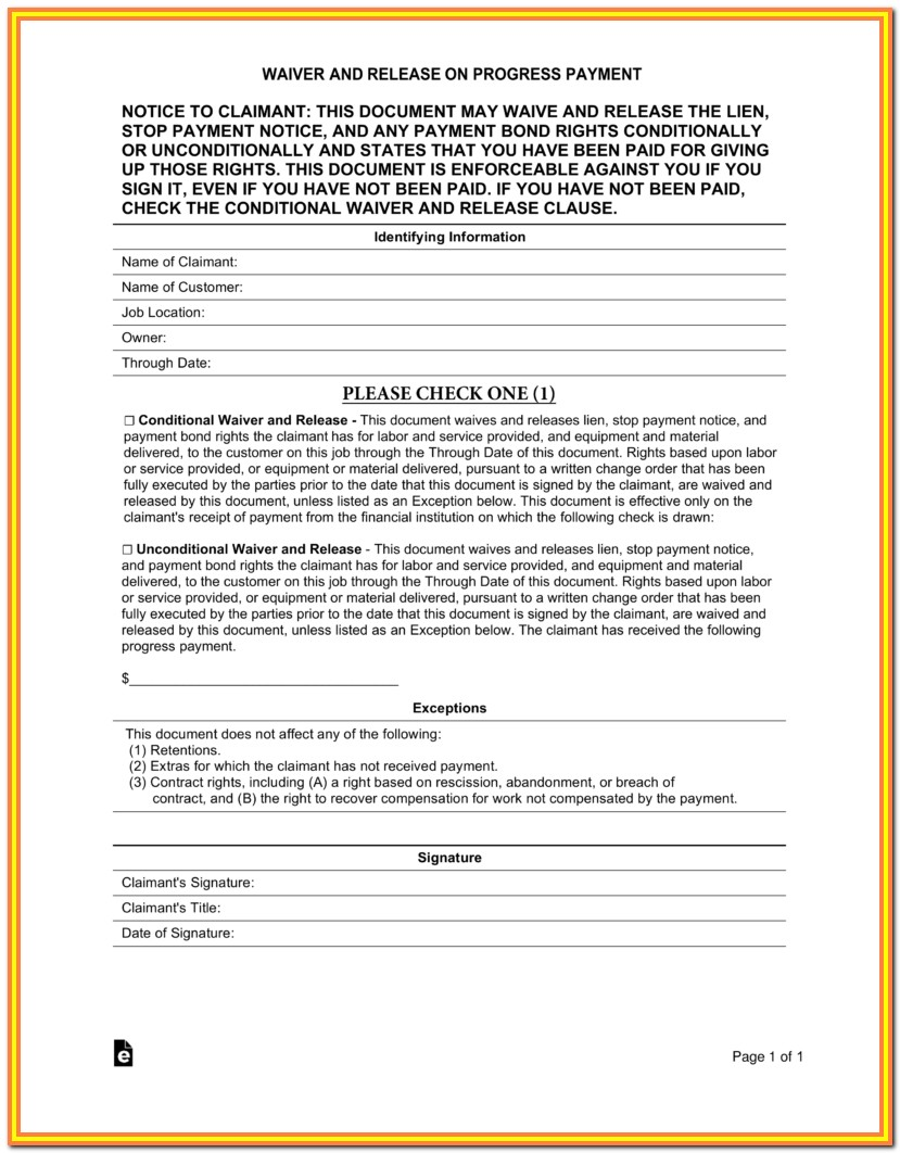 Contractor Lien Release Form Texas