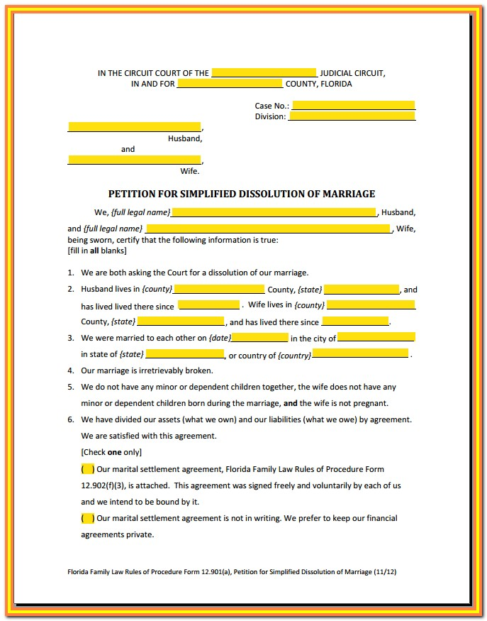 Divorce Forms Florida Download