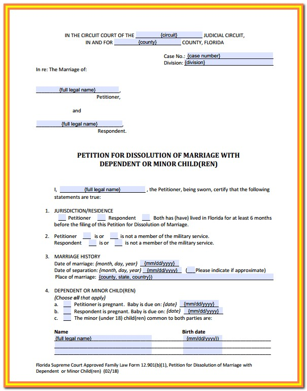 Divorce Paperwork Florida