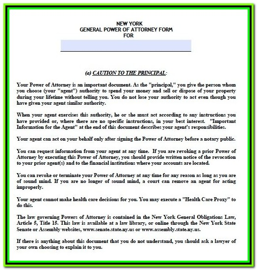 Durable Power Of Attorney Form Pdf New York