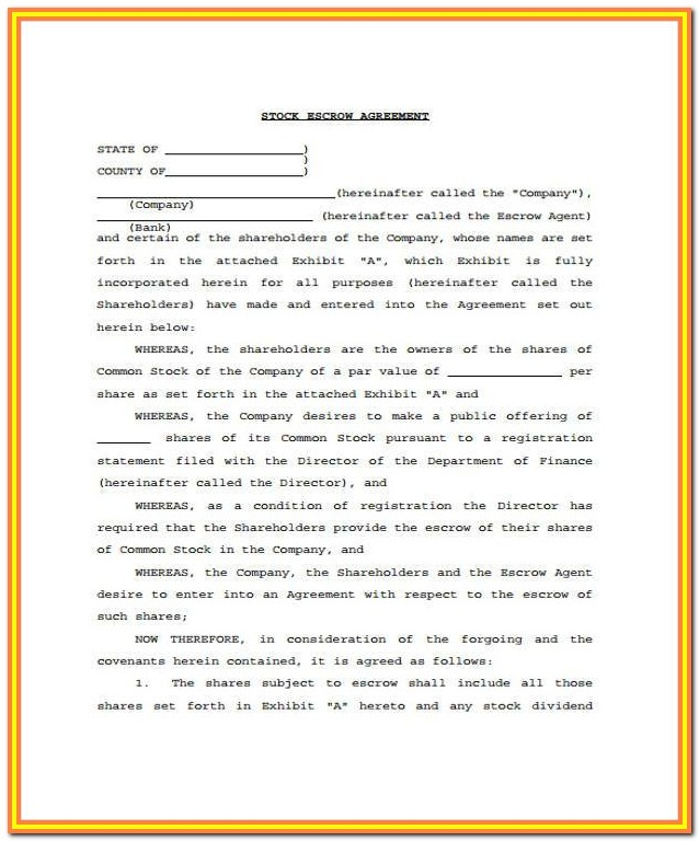 Escrow Account Agreement Format