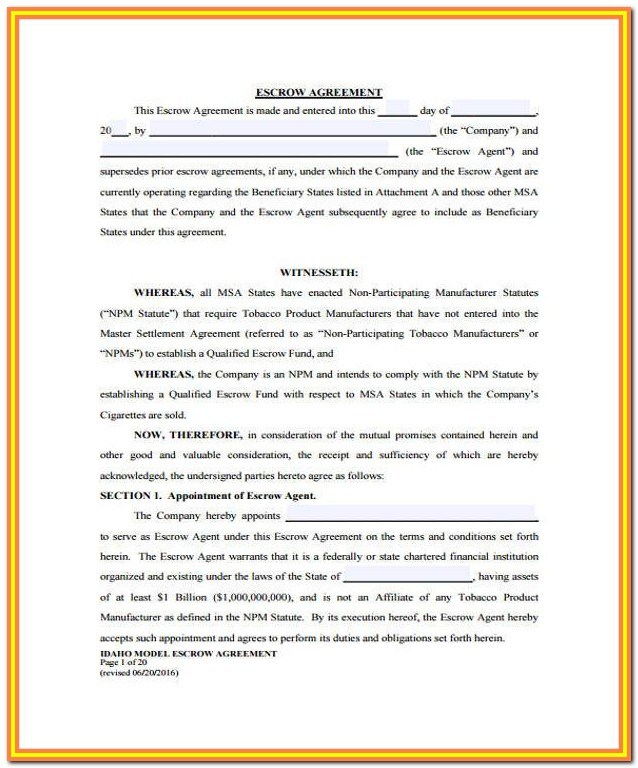 Escrow Waiver Agreement Form