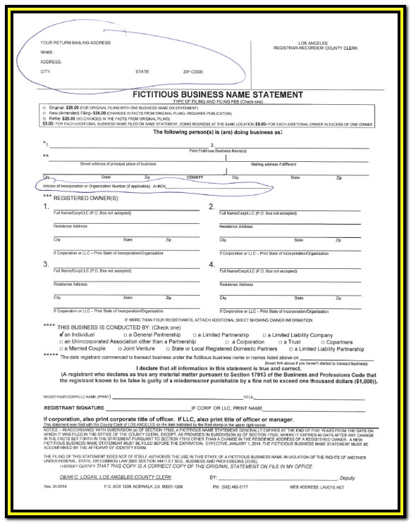 Fictitious Business Name Form California