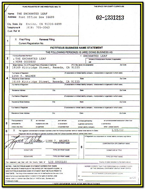Fictitious Business Name Form La County