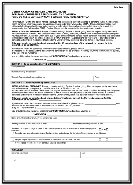 Fmla Forms For Family Member California