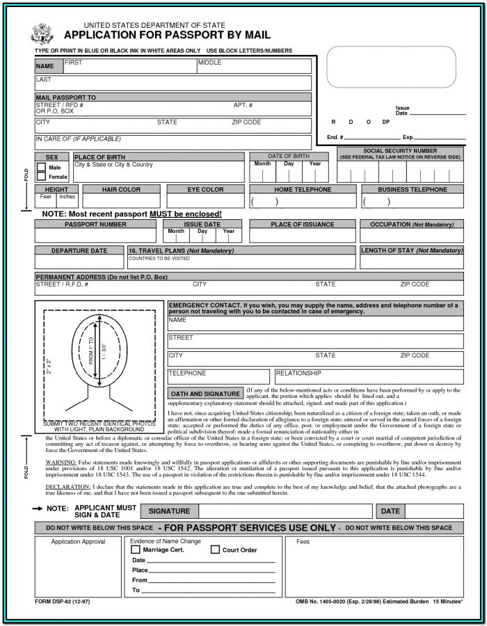 Forms For Passport Renewal Canada