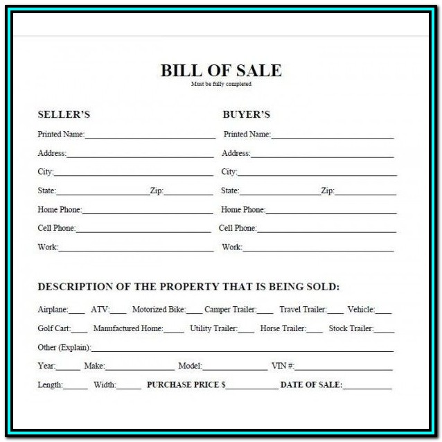 Free Bill Of Sale Form For Atv