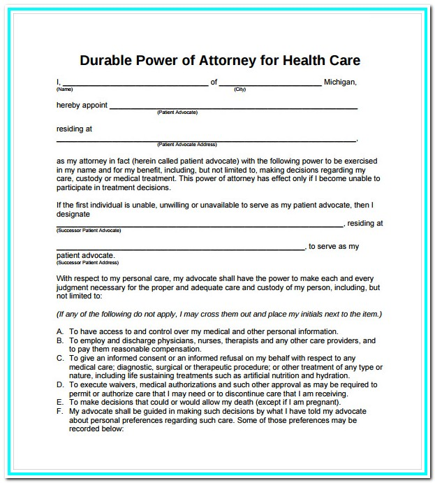 Free Printable Durable Power Of Attorney Form Ohio