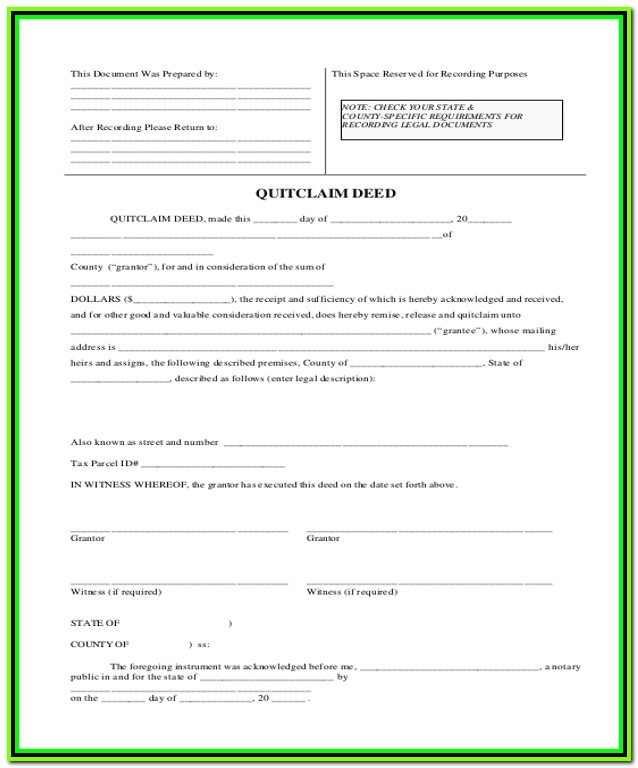 Free Quick Claim Deed Form For Property