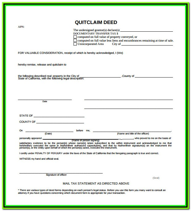 Free Quick Claim Deed Form Michigan