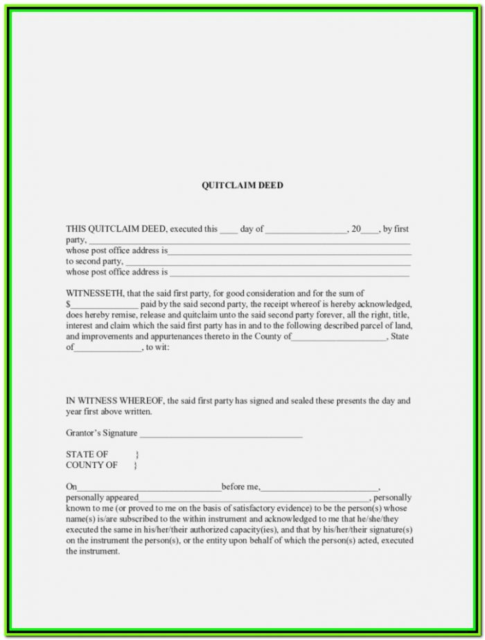 Free Quick Claim Deed Form Mississippi