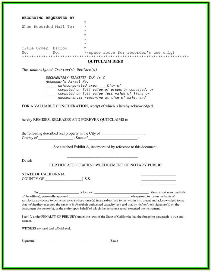 Free Quit Claim Deed Form Arkansas