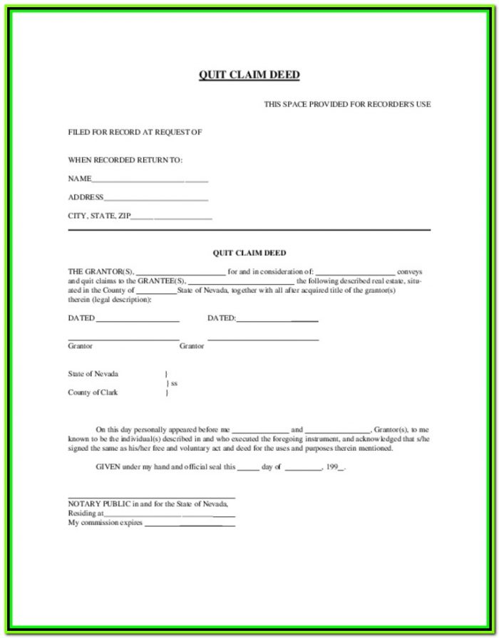 Free Quit Claim Deed Form Nevada