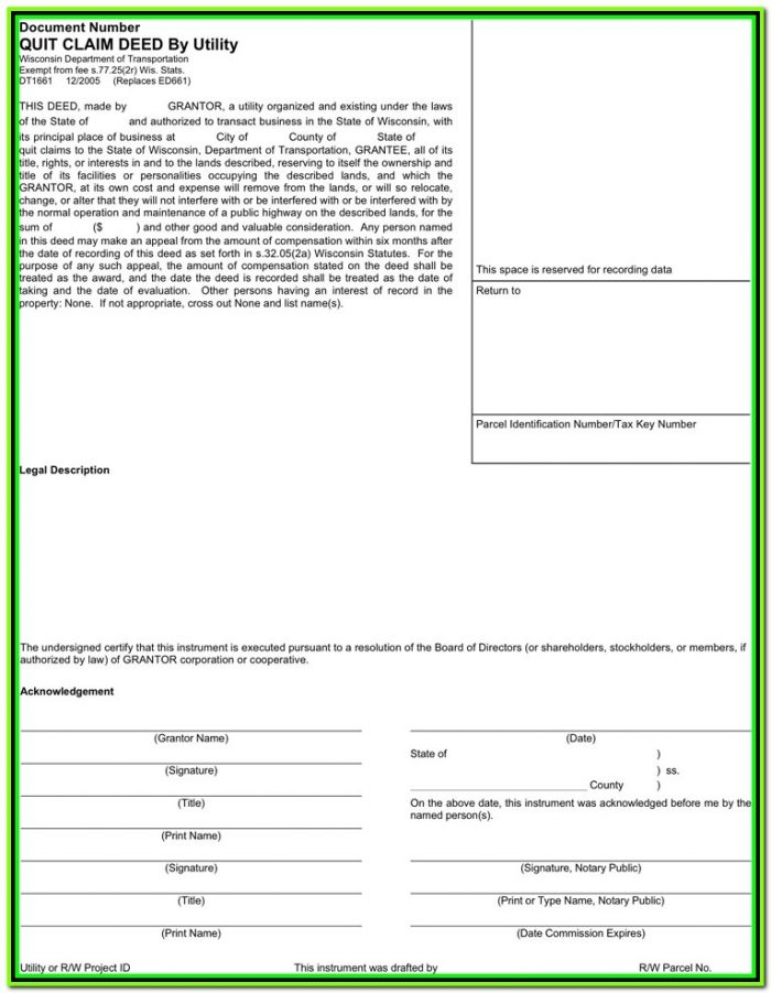 Free Quit Claim Deed Form Wisconsin