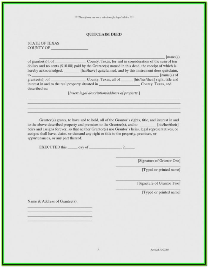 Harris County Texas Quit Claim Deed Form