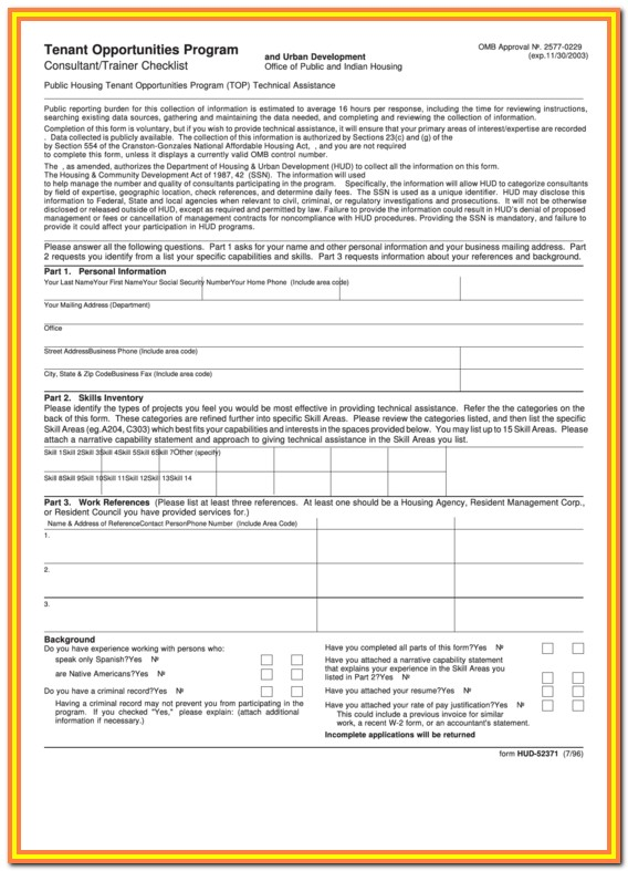 Hud Application Form For Housing