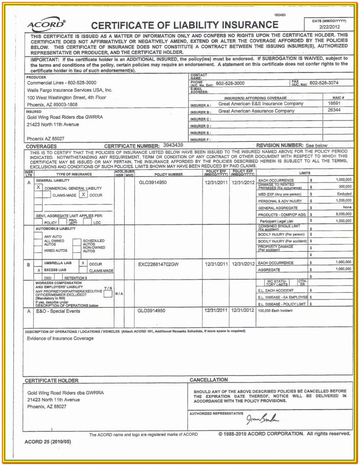 Insurance Binder Request Form