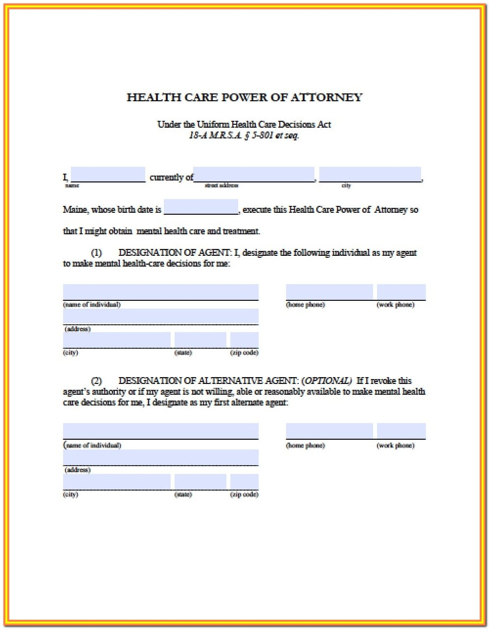 Legal Power Of Attorney Form Maine