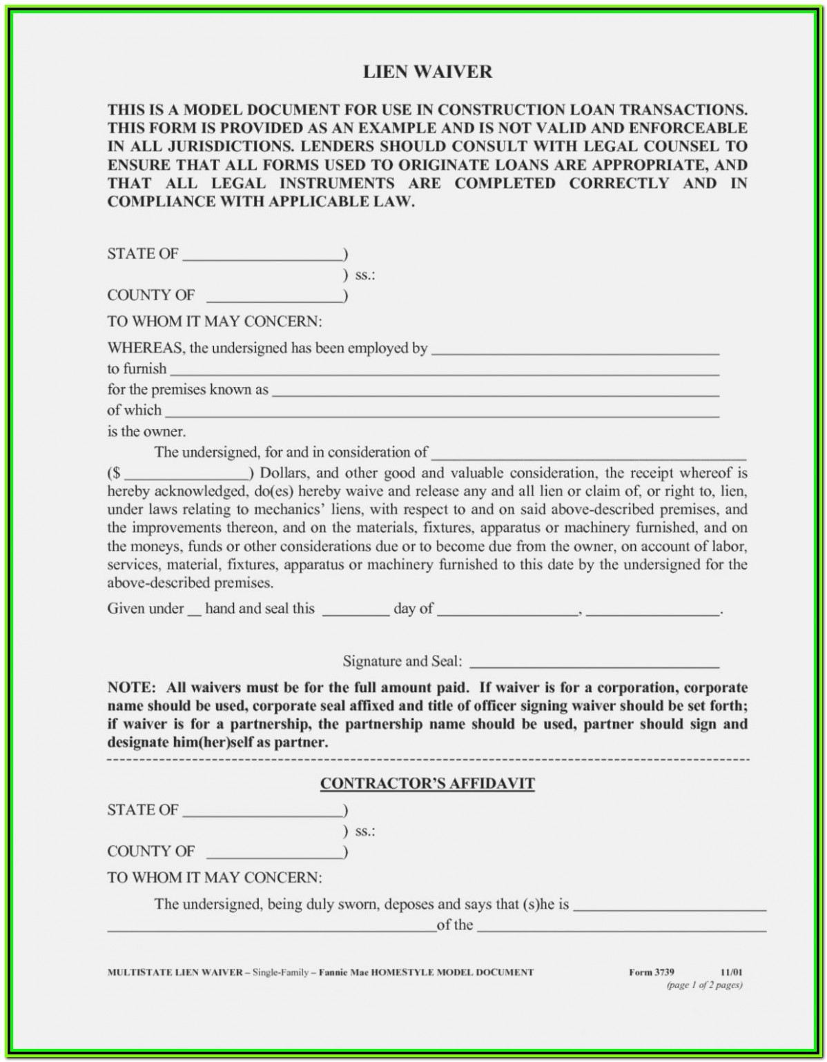 Partial Release Of Lien Form Florida