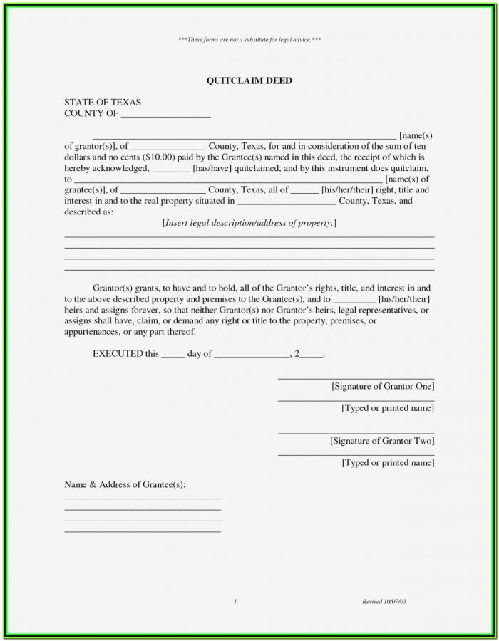 Quit Claim Deed Form Texas Denton County