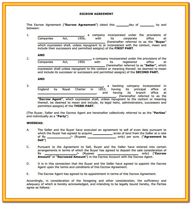 Simple Escrow Agreement Form