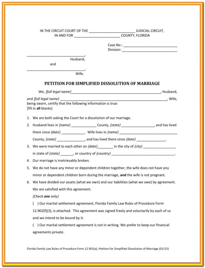 Simplified Divorce Forms Florida