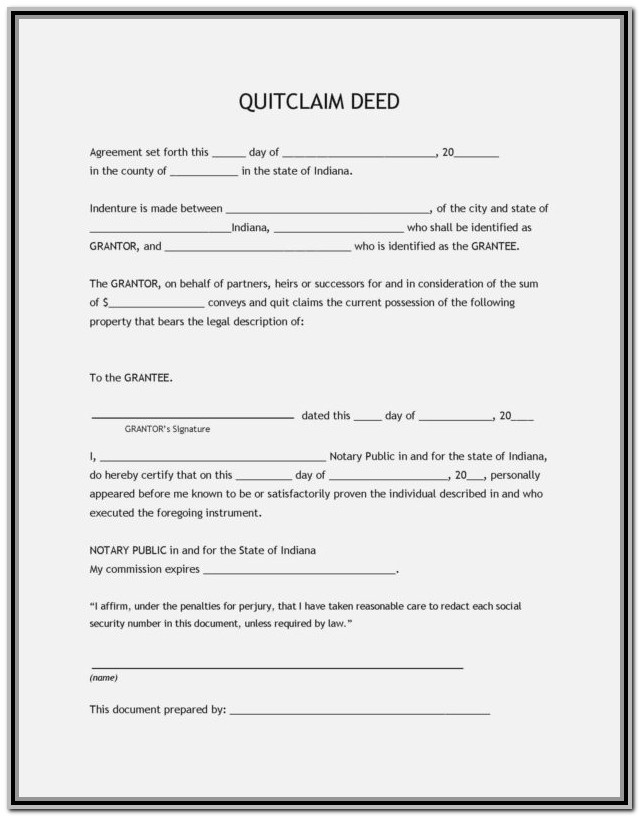 Texas Quit Claim Deed Form Travis County