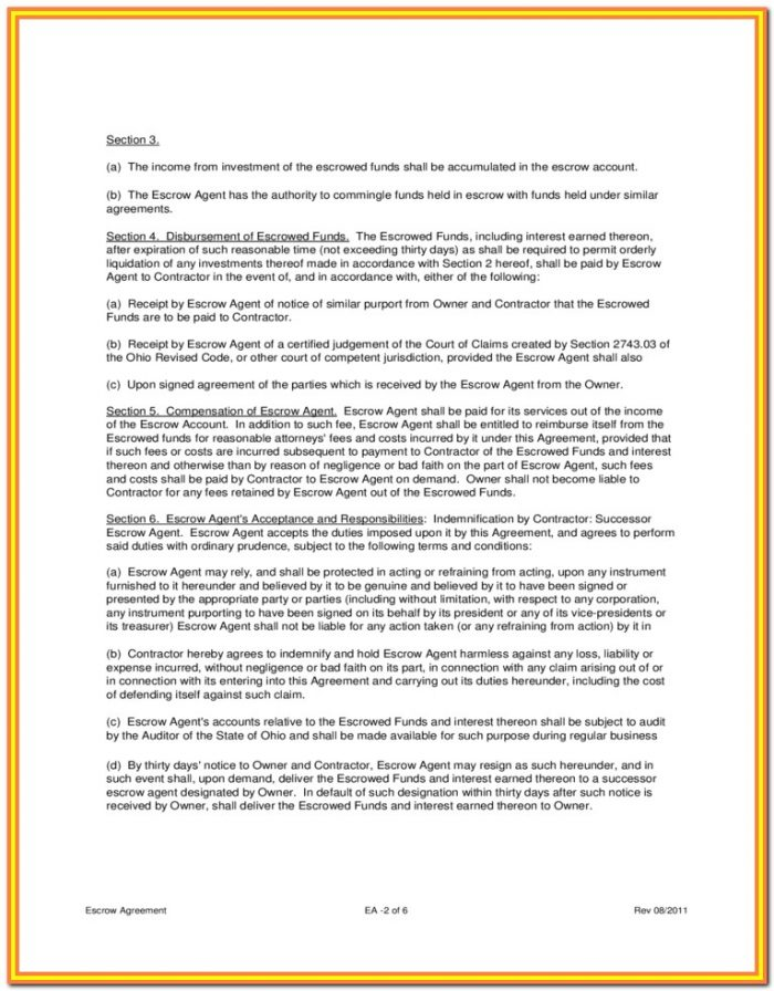 Wisconsin Escrow Agreement Form