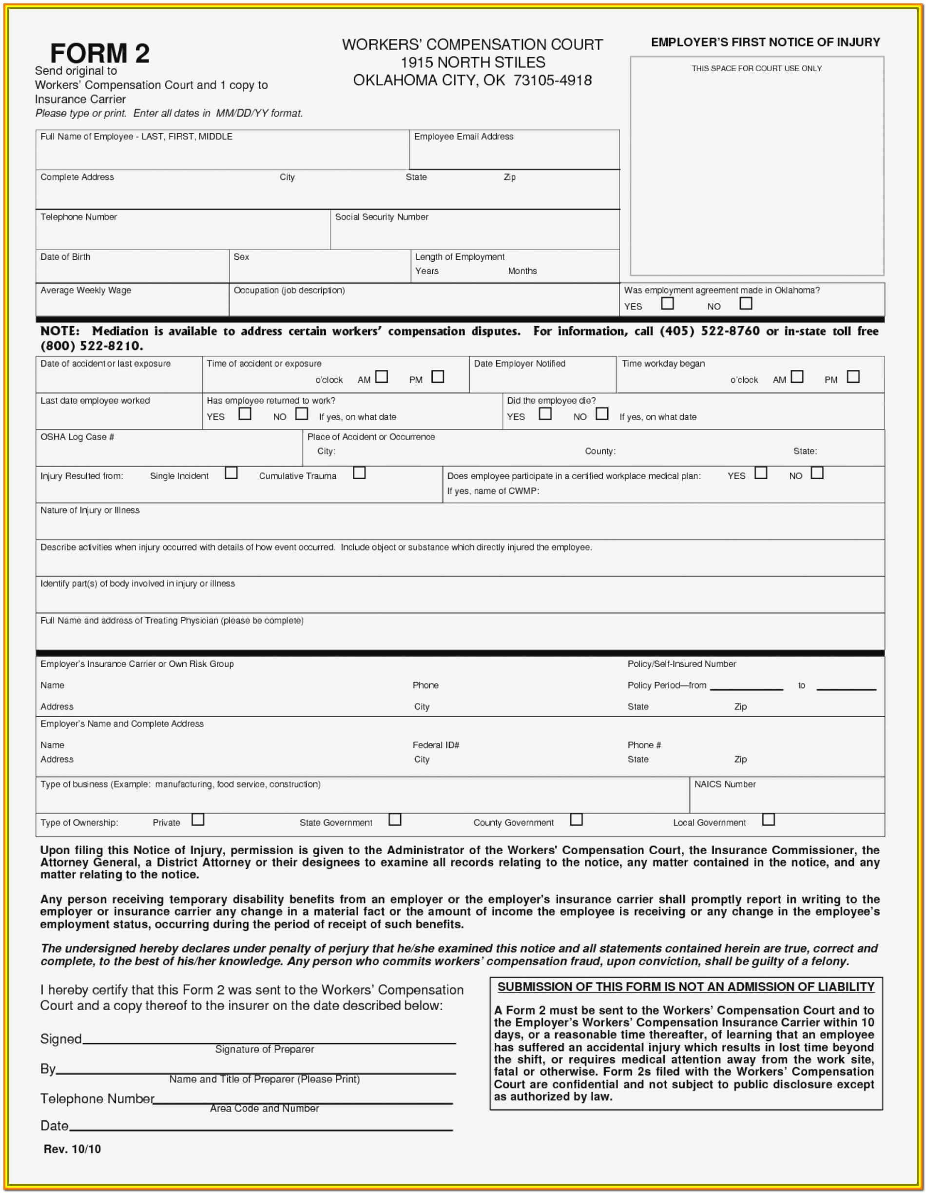 Workers Comp Claim Form California