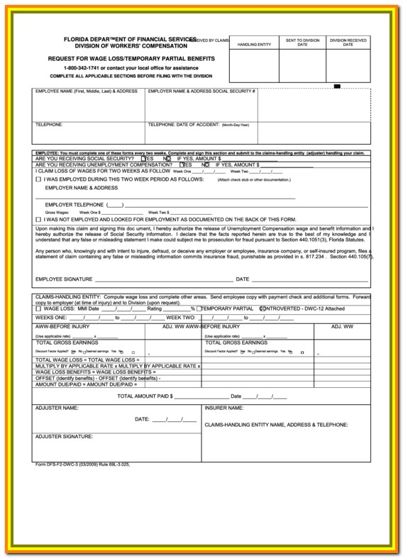 Workers Comp Claim Form Florida