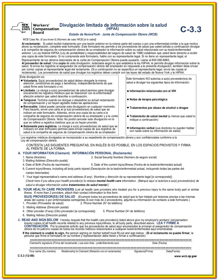 Workers Comp Claim Form Ny
