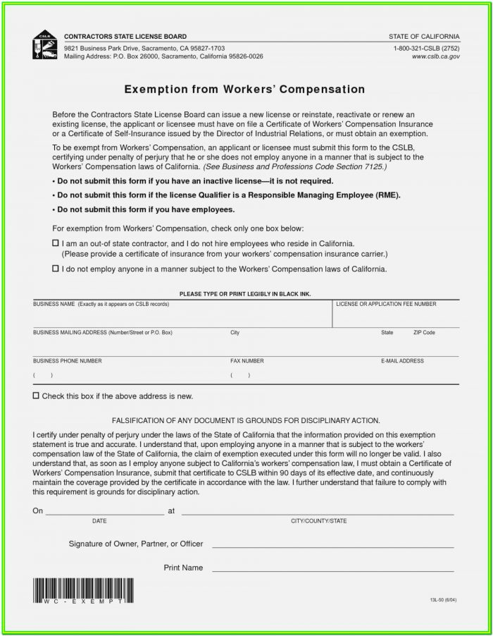 Workmans Comp Form Ce 200