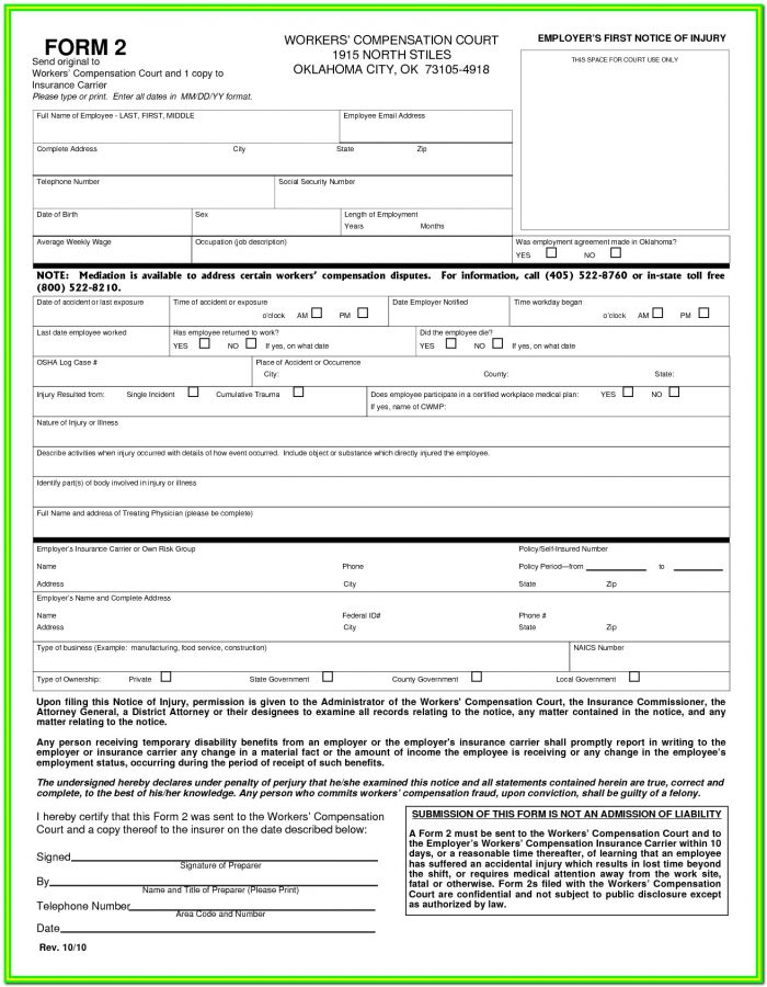 Workmans Comp Forms California