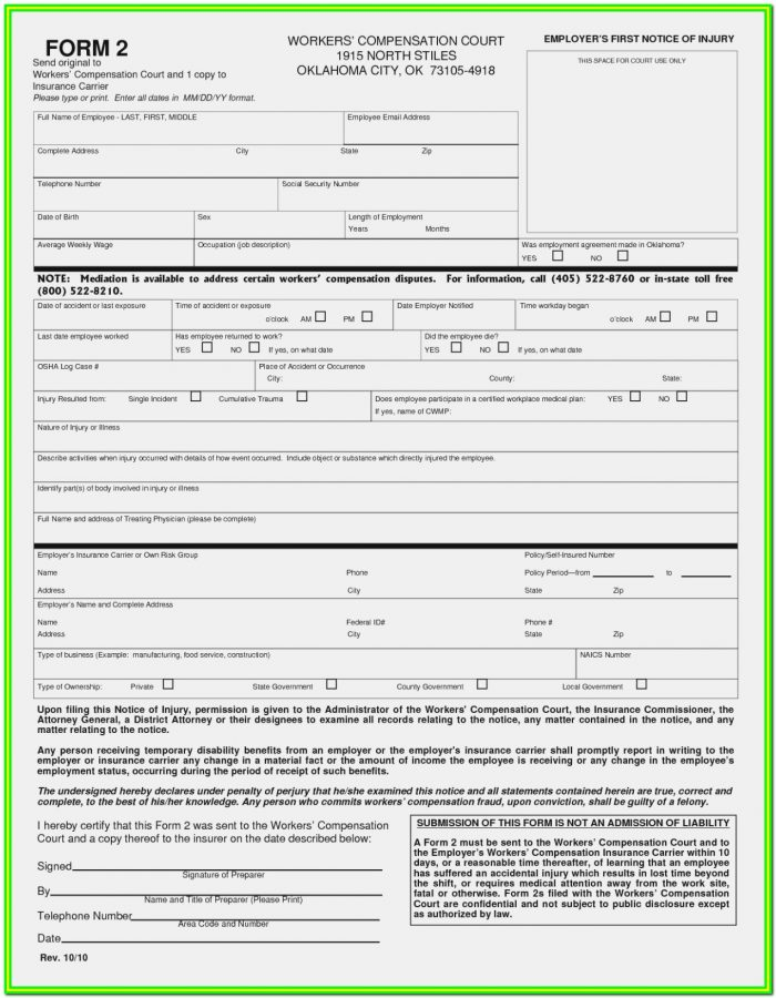 Workmans Comp Forms Texas