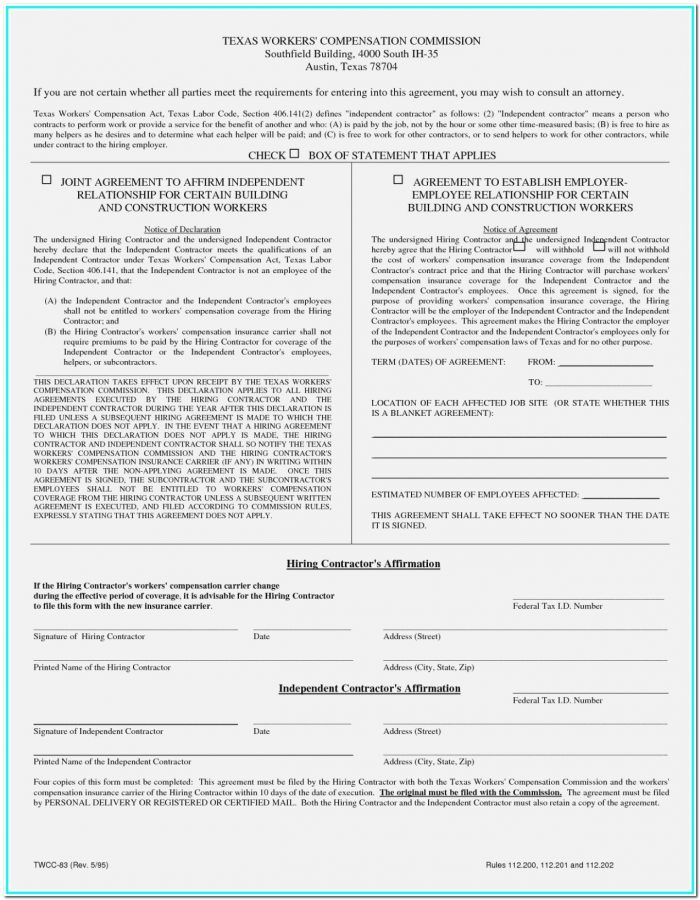 Workmans Comp Waiver Form Colorado