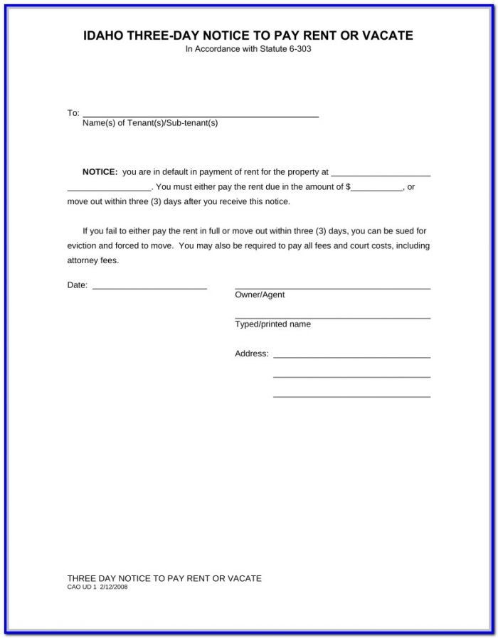 3 Days Notice To Pay Rent Or Quit Form