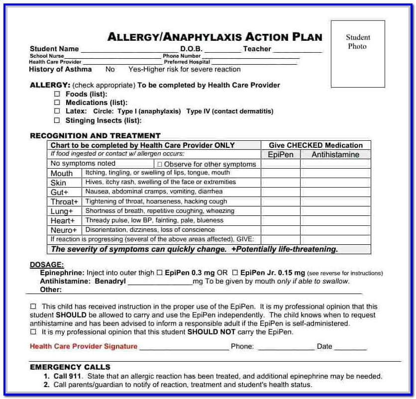 Asthma Action Plan Form For School Nyc