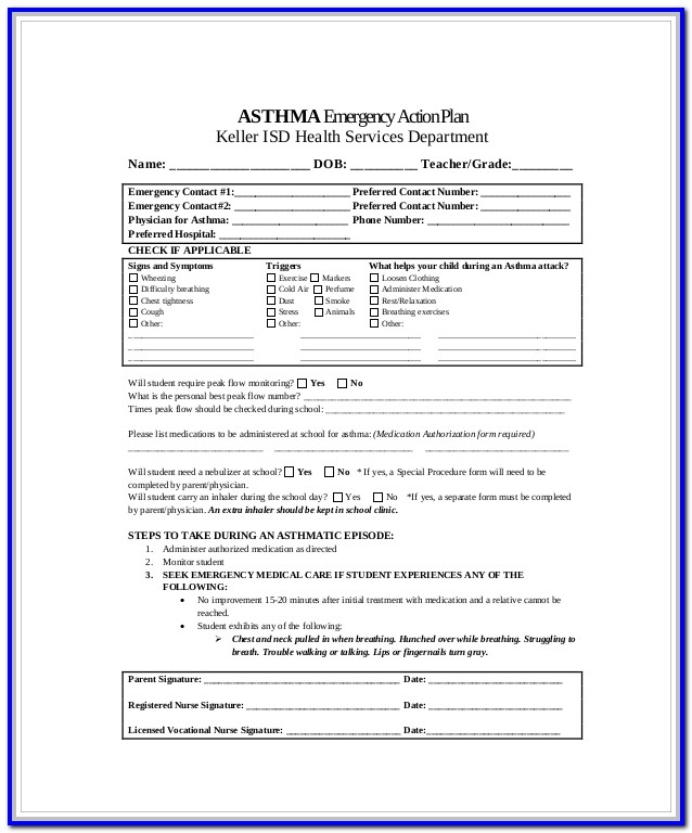 Asthma Action Plan Form Pdf