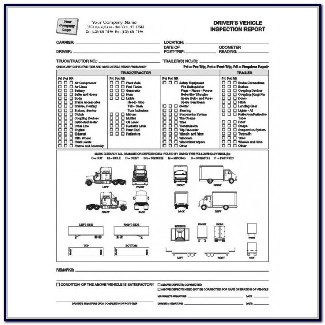 Commercial Vehicle Inspection Form Free