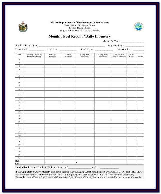 Daily Bar Inventory Report Form