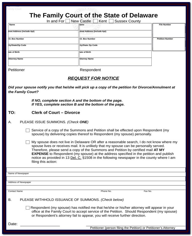 Delaware Divorce Sample Forms