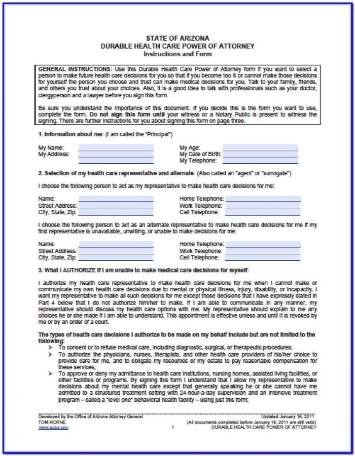 Durable Medical Power Of Attorney Form Arizona