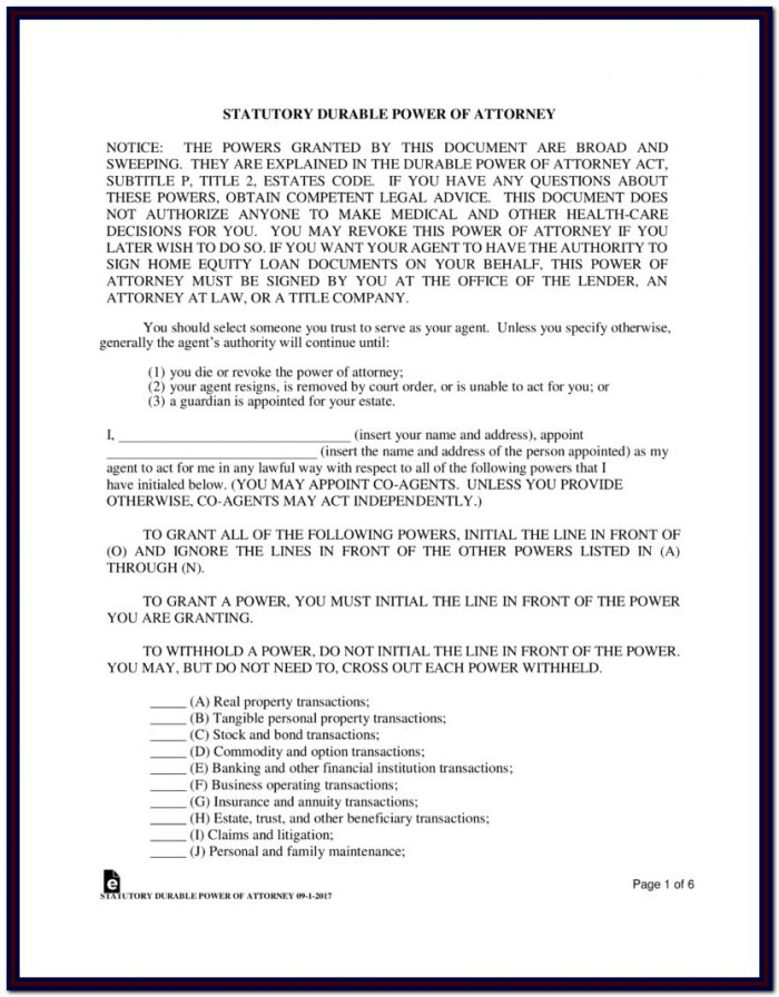 Durable Power Of Attorney Form Texas Free