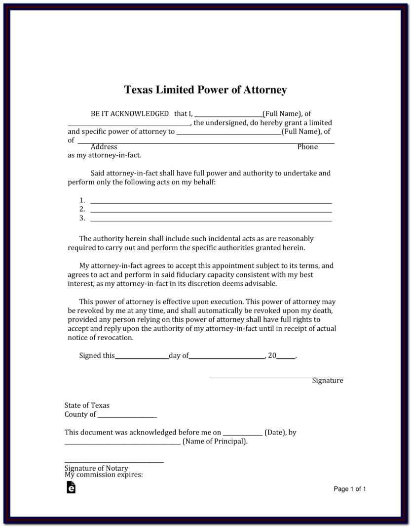 Durable Power Of Attorney Texas Form 2015