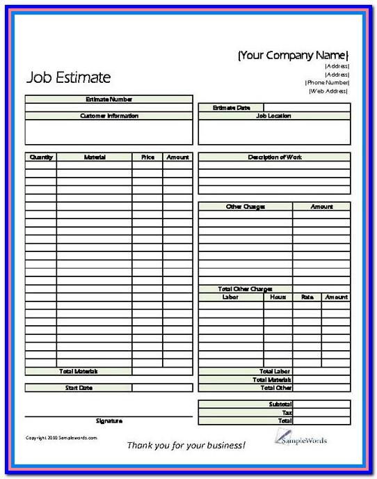 Free Printable Construction Estimate Forms